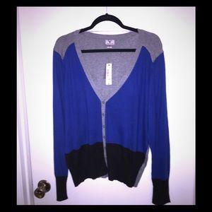 Worthington Women's Black Blue & Grey Cardigan